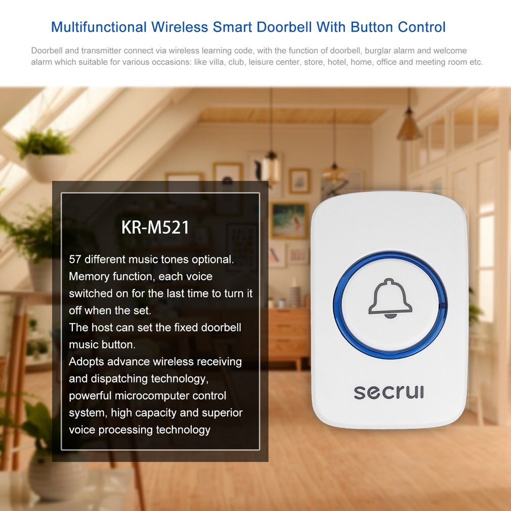 Secrui 433MHz Multifunctional Wireless Smart Doorbell With Button Control Songs Optional Intelligent Home Welcome Alarm White