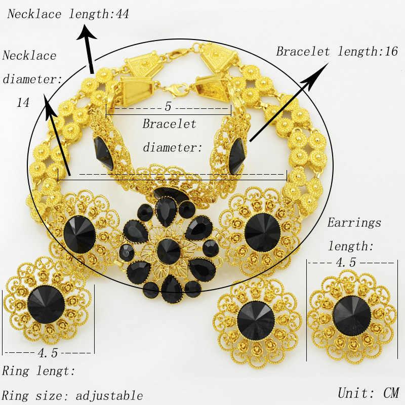Liffly zestaw biżuterii ślubnej ślub nigeryjski dubaj złote zestawy biżuterii dla kobiet afrykańskie duże kwiaty naszyjnik kolczyki biżuteria