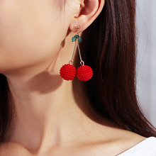 Fashion Fruit Red Cherry Earrings Handmade Beaded Earrings Creative Cute Sweet Earrings Jewelry For Women Girl Gifts ,1 Pair