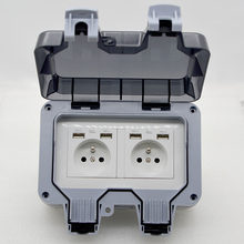 1pcs New Outdoor Waterproof USB Socket box Two position Wall Plug UK,EU, FR ,Standard Style 250V 13A Power Supply Jack Special