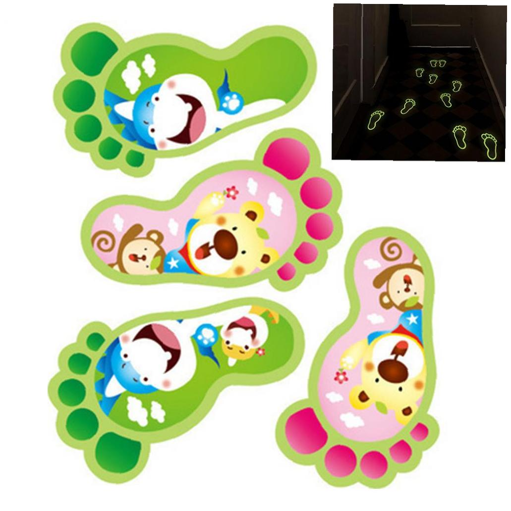 2 Pair Cute Feet Wall Sticker Luminous Cartoon Wall Decals for Kids Bedroom Bathroom Decoration