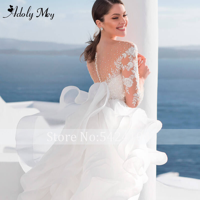 Adoly Mey Luxury Scoop Neck Beading Illusion Back A-Line Wedding Dress 2021 Ruched Tulle Long Sleeve Appliques Boho Wedding Gown 5