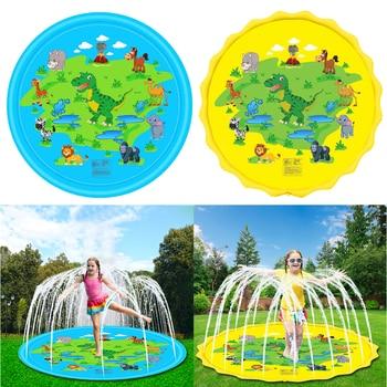 67 inch Inflatable Sprinkler Play Mat Dinosaur Splash Pad Kids Outdoor Toys