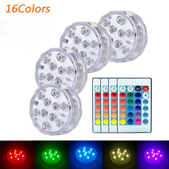 Multicolor Submersible Led Light With Remote Control IP67 Waterproof Underwater Tea Light For Vase Garden Swimming Pool Wedding