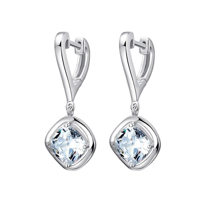 Fashion 925 sterling sølv stud øreringer AAA Flash crystal heart Earing for women Smykker 2019