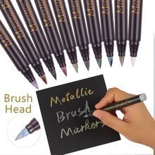 STA 10Color Brush Metallic Markers Set for DIY Scrapbooking Crafts Soft Brush Pen Art Marker Pen for Stationery School Supplies