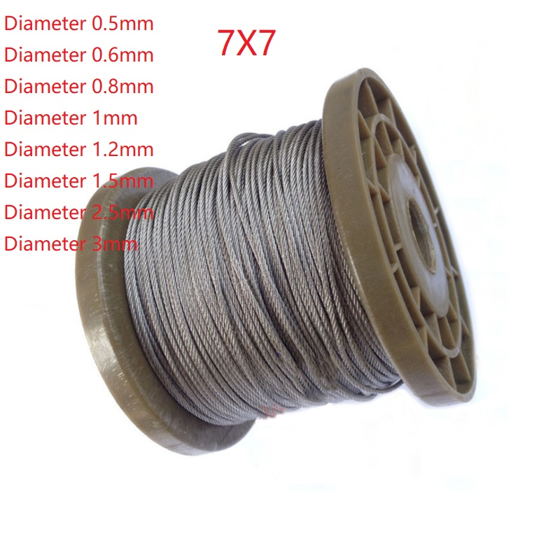 7*7 5 Meter 304 Stainless Steel 1mm 1.2mm 1.5mm 2mm   2.5mm 3mm  Diameter Steel Wire Bare Rope Lifting Cable Line Clothesline