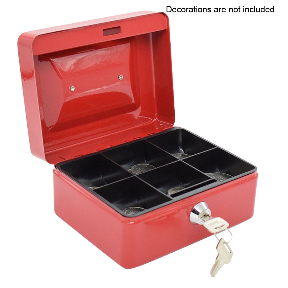Coin Storage Box Dustproof Jewelry Box Safe Double Layer 6 Grid Storage Box Small Items Sewing Tools Storage Box With Key