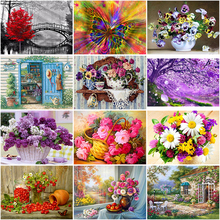 DIY 5D Diamond Painting Flower Basket Diamond Embroidery Landscape Cross Stitch Full Round Drill Rhinestones Art Home Decor Gift diapai 100% full square round drill 5d diy diamond painting flower landscape diamond embroidery cross stitch 3d decor a21095