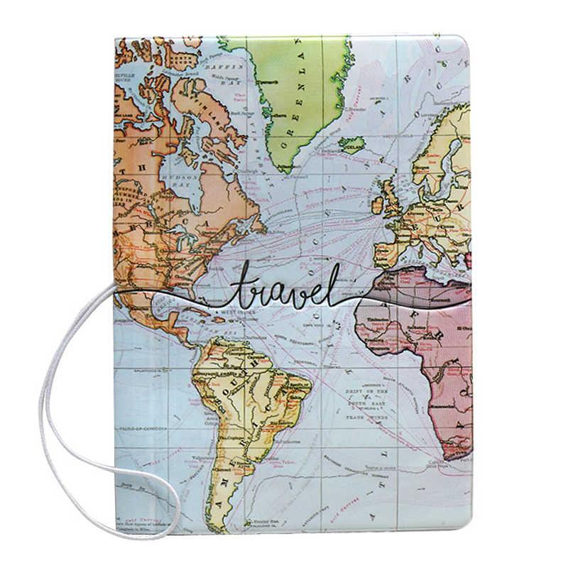 Kreatywna mapa świata okładka na paszport kopertówka list mężczyźni kobiety Pu skóra adres dowód tożsamości uchwyt przenośne akcesoria podróżne na pokład