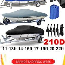 14-22ft защита для лодки 210D, водонепроницаемая серая Защита от солнца для рыбы, лыж, V-корпус, защита от УФ лучей, крышка для лодки, швартовки D35