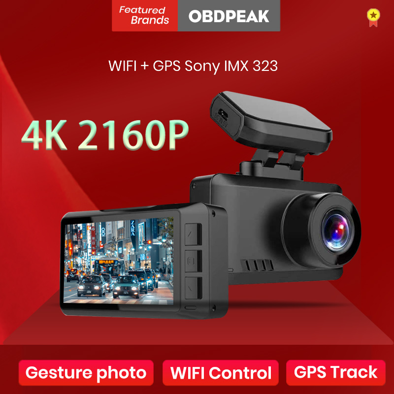 OBDPEAK M63 4K Dash Cam Gesture Photo WiFi Car Camera Dashcam 3840*2160P 30FPS Ultra HD DVR Video Recorder GPS Tracker Dashcam 1