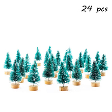 24pcs Mini Pine Trees Frosted Sisal Trees with Wood Base Bottle Brush Trees Plastic Winter Snow Ornaments Tabletop Trees DEC576 trees page 4