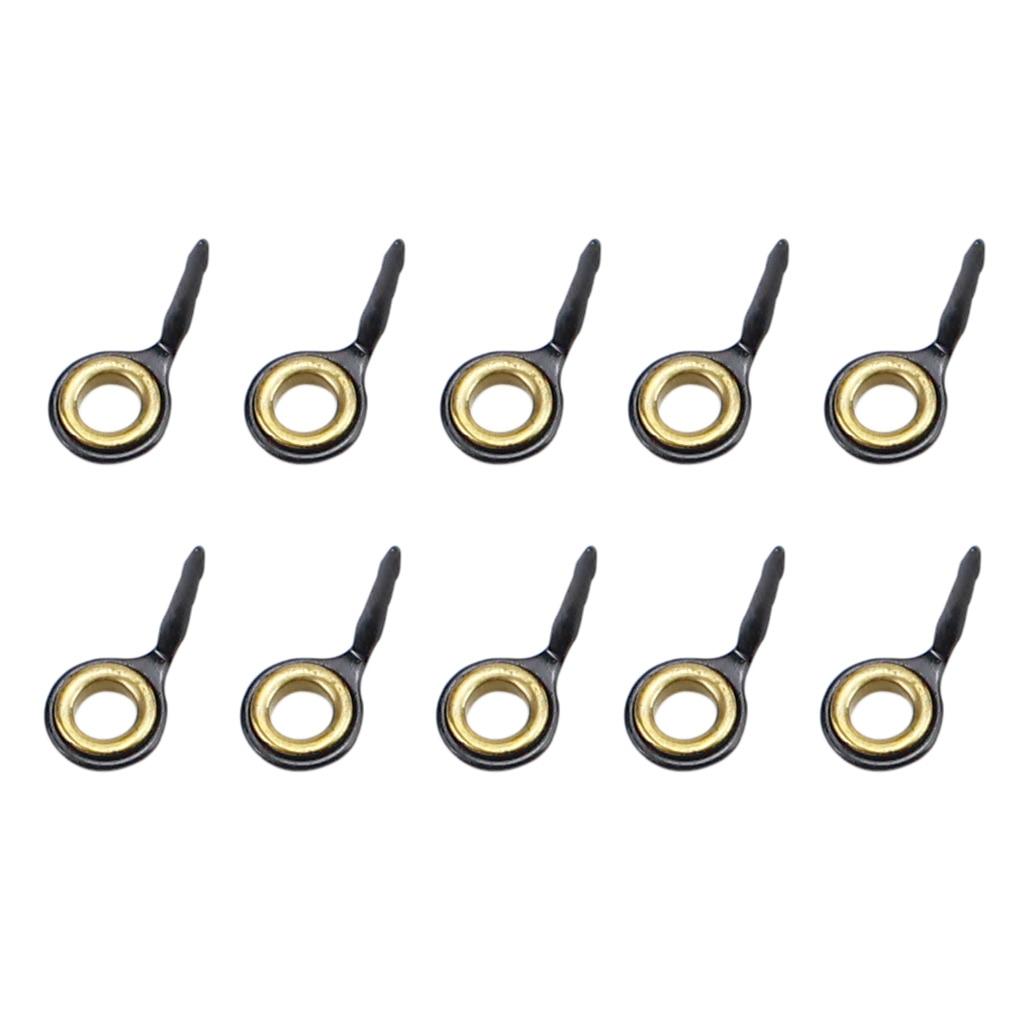 10 шт., направляющие для удочек из нержавеющей стали, кольцевой наконечник для удочки, Ремонтный комплект 3#4#5#6#7#8#10# комплект рыболовных принадлежностей - Цвет: Gold 6