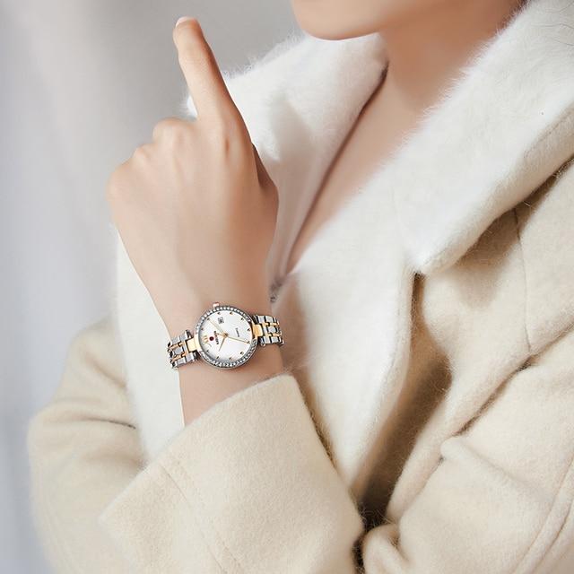 Kademan 2020 vestido de ouro relógio feminino cristal diamante relógios de pulso adies aço inoxidável prata relógio feminino montre femme 4