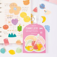 Juego de pegatinas divertidas para los ojos, calcomanía de nota diario de regalo de dibujos animados de pequeño planeta, bosque dulce, Animal, fruta, nube, corazón, decoración F475
