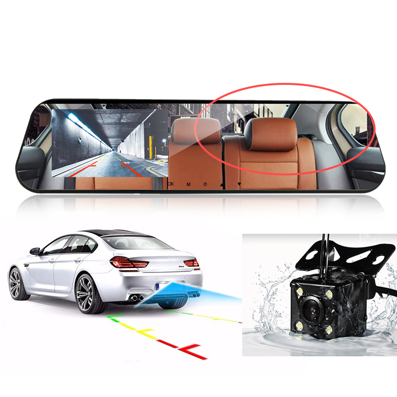 Car Dvr Dual Lens Car Camera White Rearview Mirror Recorder With Rear View Camera Video Registrator Auto Vehicle Dvr Dash Cam 4
