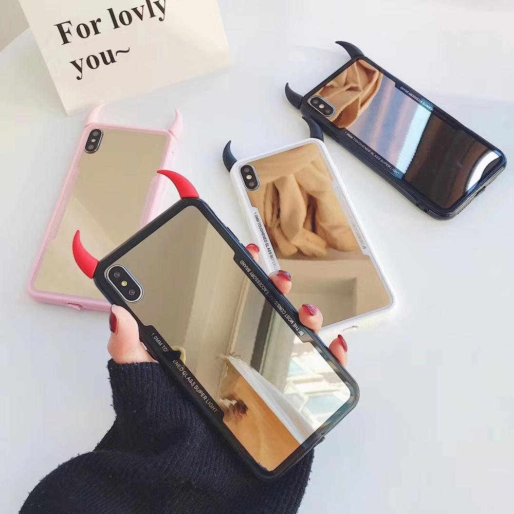 For <font><b>Iphone</b></font> 11PRO MAX 6Plus 7 8 <font><b>Plus</b></font> Shell Luxury Mirror <font><b>Makeup</b></font> DIY Devil horn Acrylic tpu Phone <font><b>Case</b></font> For <font><b>iPhone</b></font> X XS XR XSMax image