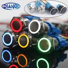 Botão interruptor de anel, novo tipo, 19mm, travamento momentâneo, impermeável, de metal, campanhia, buzina, botão de pressão