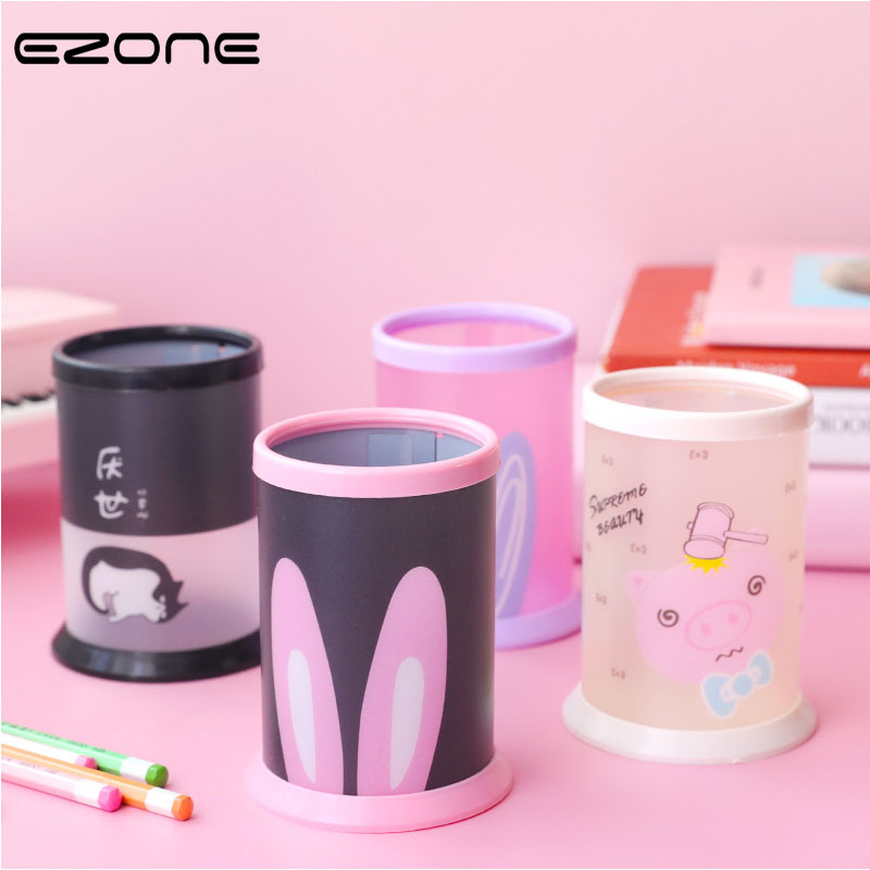 EZONE 1PC Cartoon Desktop Pen Container Round Pen Holder Desktop Stationery Organizer Office School Stationery Supply New Style
