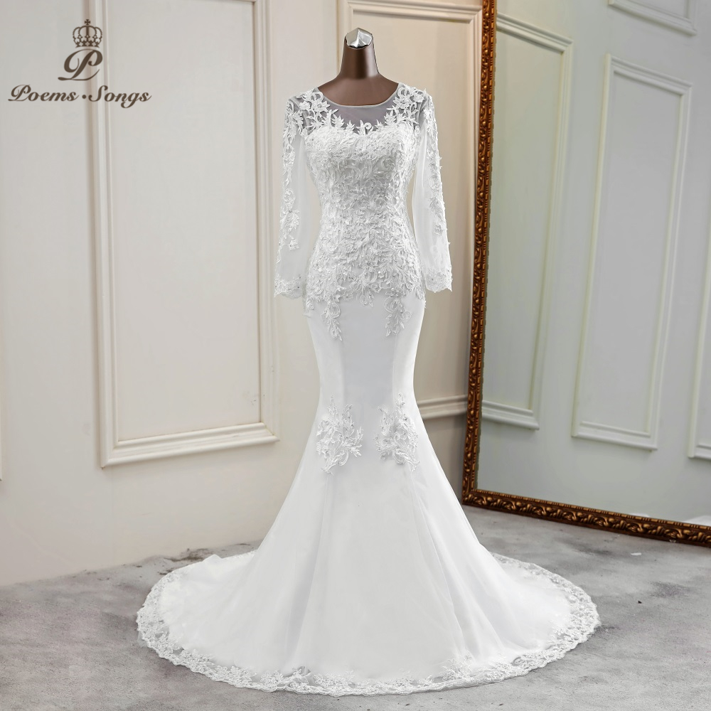 New Elegant Mermaid Wedding Dress Long Sleeve Marriage Dress Robe De Mariee Bride Dress Wedding Gowns Vestido De Noiva Sereia