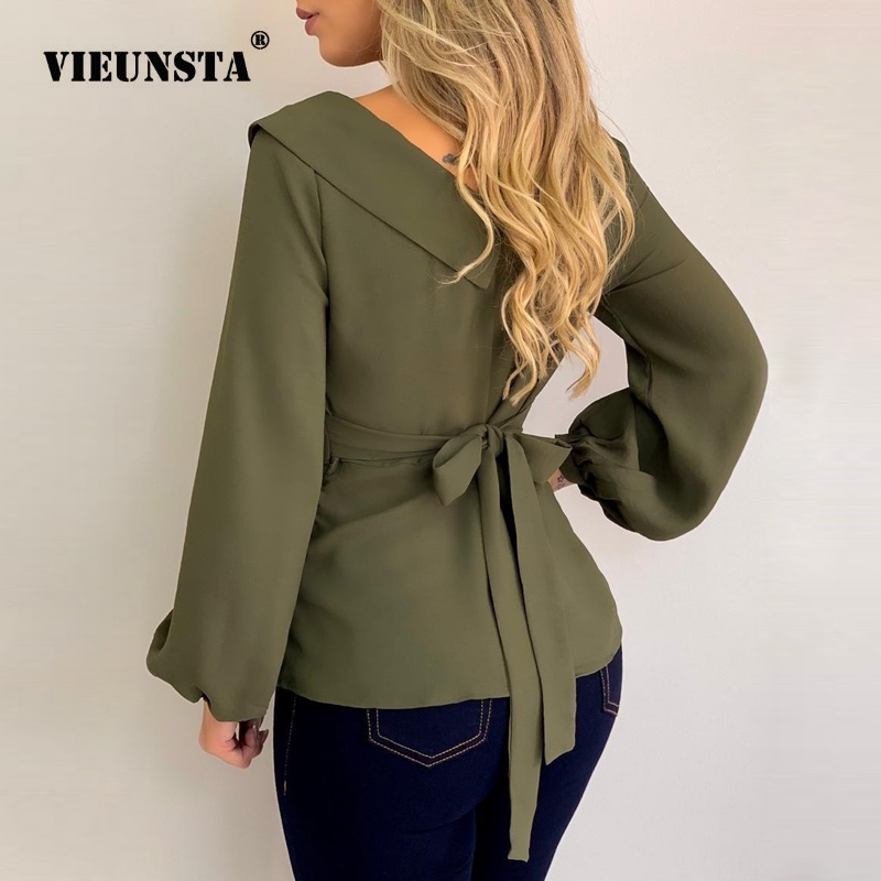 VIEUNSTA Sexy Double V-neck Chiffon Blouse Shirt Elegant Tie-up Bow Women Autumn Blouse Solid Lantern Long Sleeve Streetwear Top