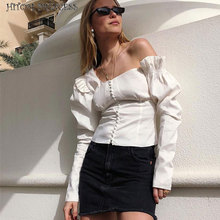 HITOM PRINCESS Women Puff Long Sleeve Top Button White Blouse Autumn Tunic Woman Blouse Ruffle Elegant Shirts Female Blusas ruffle detail solid tunic top