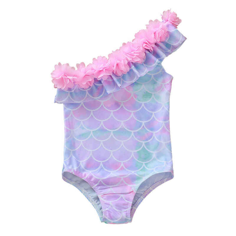 1-5Y Toddler Baby Kids Girls One Piece Bikini Ruffles One Shoulder Swimsuit Swimwear Bathing Suit