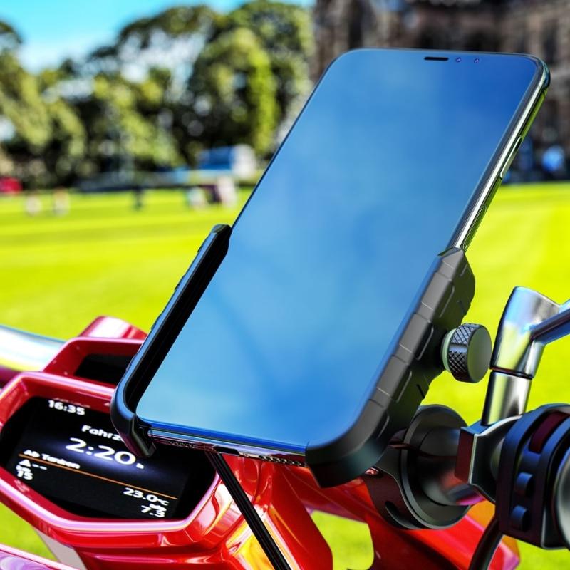 12V-90V Motorcycle E-bike Handlebar Rear-View Mirror Cellphone Stand USB Charger N58E