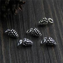 Real 925 Sterling Silver Pine Cone Pendant Charm Suit DIY Bracelet Necklace Making Fine Jewelry Accessories Findings A0242