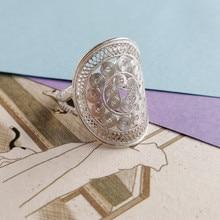 Antique 999 Sterling Silver Men Ring Finger Adjustable Big boho Rings For Women Luxury Jewelry Handmade Vintage Ethnic Jewellery