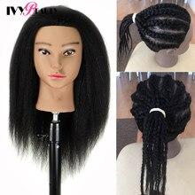 Africano-americano manequim cabeça com cabelo real e suporte ajustável para trança formação do cabelo cabeleireiro barbeiro fashi