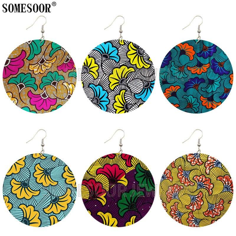 SOMESOOR African Prints Bohemian Flower Wooden Drop Earrings Afro Ethnic Style Handmade Wood Ear Dangle Jewelry For Women Gifts
