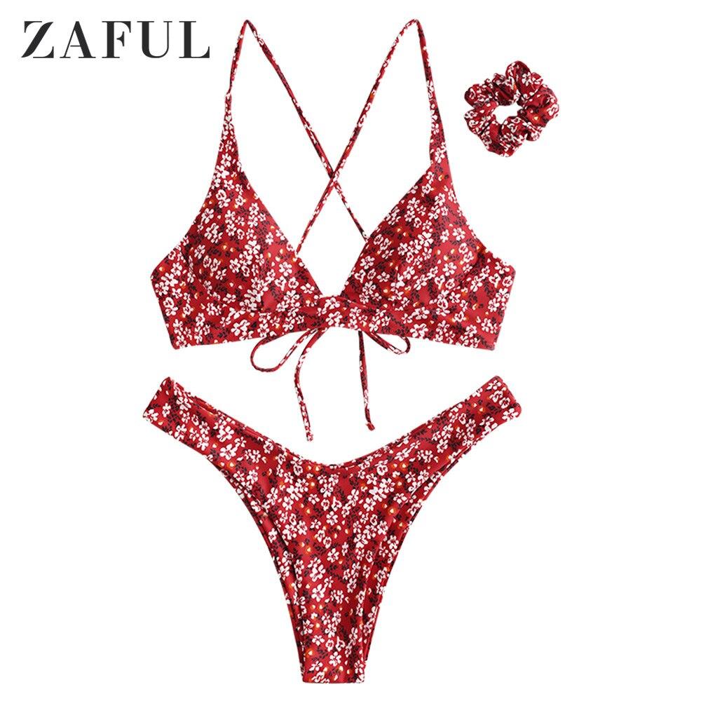ZAFUL сексуальный купальник с цветочным принтом крест-накрест купальник, набор бикини, женский купальник, купальный костюм с хлопковой подкла...