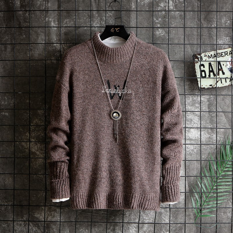 2019 New Arrival Men's Sweater Letter Printed Korean Fashion Pullovers Warm Wool Male Sweaters Plus Size M-3XL Homme Outerwear
