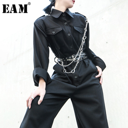 [EAM] Loose Fit Pocket Split Wide Leg Women Jumpsuit New High Waist Pocket Stitch  Pants Fashion Tide Spring Autumn 2020 1M388