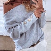 Fanbety женский сексуальный однотонный вязаный свитер с вырезом лодочкой, элегантный осенне-зимний пуловер на пуговицах с длинным рукавом и открытыми плечами, уличная одежда, топы