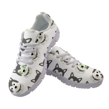 Cute Cartoon Husky Printed Woman Flats Sneakers Nurse Shoes Women Summer Mesh Walking Ladies Shoes Zapatos de Mujer