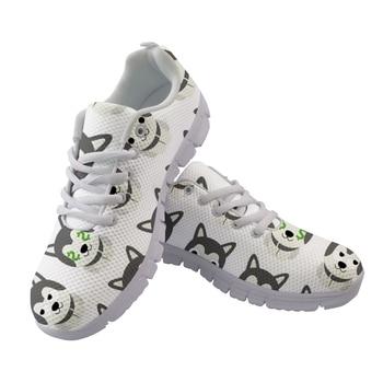 Cute Cartoon Husky Printed Woman Flats Sneakers Nurse Shoes Women Summer Mesh Walking Ladies Shoes Zapatos de Mujer