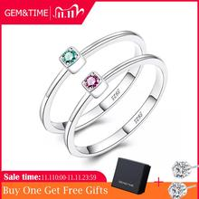Gem&Time Real 925 Sterling Silver Ring Gree Red Topaz Rings For Women Gemstone Engagement Rings Silver 925 Jewelry Anillos Mujer