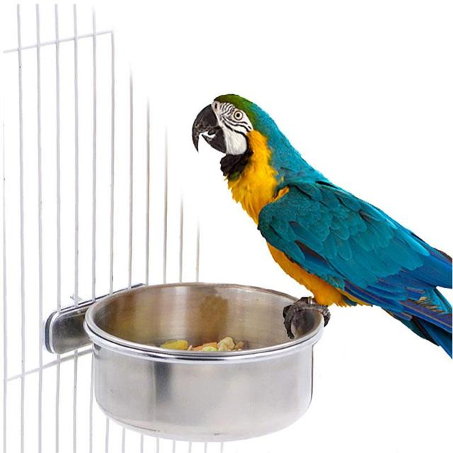 Stainless Steel Cage Coop Hook Cup Bird Parrot Feeding Cups Cage Hanging Bowl Bird Coop Cups Seed Water Food Dish Feeder Bowl