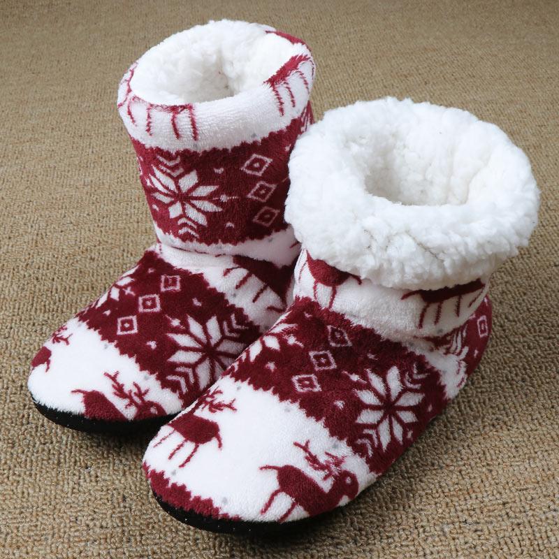 Winter Fur Slippers Women Warm House Slippers Plush Flip Flops Christmas Cotton Indoor Home Shoes Floor Shoes Claquette Fourrure