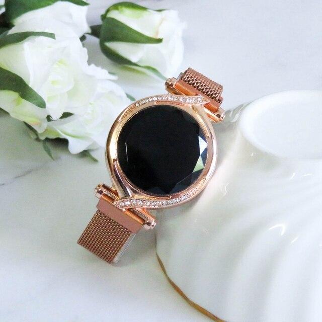 De Lujo Led rojo esfera Digital relojes de mujer Simple pulsera de las señoras vestido magnética reloj de cuarzo de lujo conjunto regalo envío de la gota 4