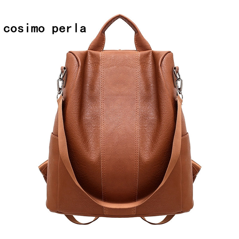 Korea Vintage Leather Backpack For Women 2019 Black Brown Anti-theft Bagpack Fashion Travel Rucksacks Sac A Dos Bag Mochilas