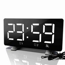 디지털 LED 알람 시계 미러 다기능 스누즈 시간 표시 조절 조명 FM 라디오 테이블 시계 시간 메모리 데스크 시계