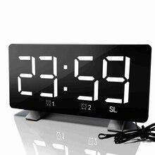الرقمية LED ساعة تنبيه مرآة متعددة الوظائف غفوة الوقت عرض قابل للتعديل الإضاءة راديو FM ساعة الطاولة الوقت ساعة مكتب الذاكرة