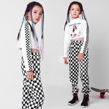 купить 2019 New Spring Children Jazz Dance Costumes Girls Long Sleeve Crop Tops Black Plaid Trousers Suit Street Dance Hip Hop Clothes по цене 1625.02 рублей