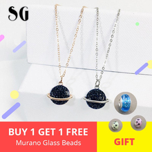925 Rose Gold & Silver chain Galaxy Blue crystal CZ Universe Planet Pendant Necklace for 2019 new fashion girl&women jewelry