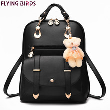 Preppy Style Women Backpack Bear Toys PU Leather Schoolbags for Teenage Girls Female Rucksack Shoulder Bag Travel Knapsack