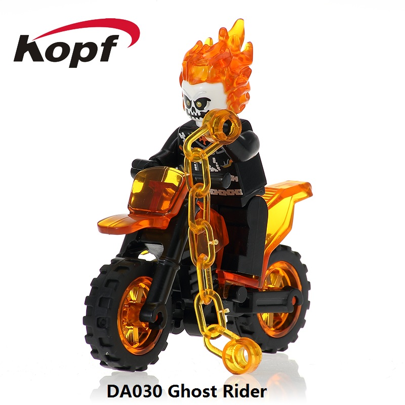 Single Sale Building Blocks Super Heroes Ghost Rider With Motorcycle Spiderman The Flash Mini Dolls Toys For Children DA030